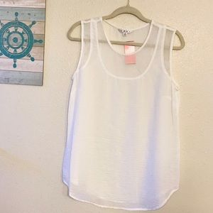 CAbi 269 sleeveless white mesh Razorback blouse